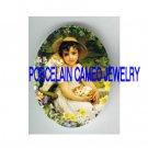 VICTORIAN GIRL 2 KITTY CAT FLOWER GARDEN* UNSET PORCELAIN CAMEO CAB
