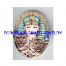 EGYPT QUEEN SNOW LEOPARD WILD CAT* UNSET PORCELAIN CAMEO CAB