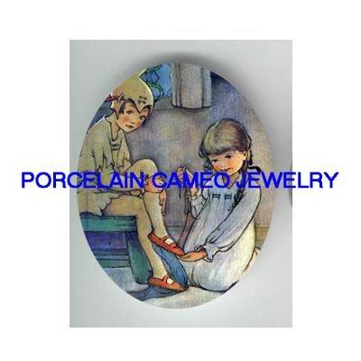 VICTORIAN PETER PAN WITH GIRL  * UNSET PORCELAIN CAMEO CAB