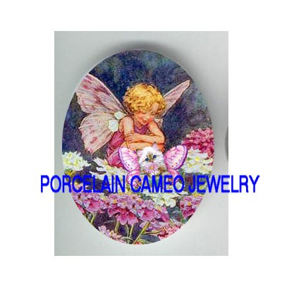 VICTORIAN FLOWER FAIRY KITTY CAT BUTTERFLY FAIRY CAT* UNSET PORCELAIN CAMEO CAB