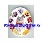 GRAY PERSIAN KITTY CAT COLORFULL PANSY PORCELAIN CAMEO