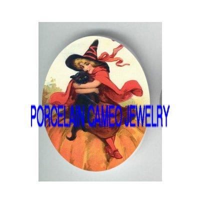VICTORIAN HALLOWEEN GIRL HUGGING BLACK CAT PUMPKIN* UNSET PORCELAIN CAMEO CAB