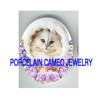 PERSIAN KITTY CAT ROSE BUTTERFLY PORCELAIN CAMEO CAB