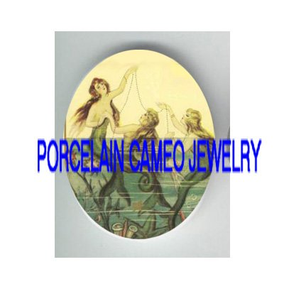 3 VICTORIAN MERMAID SISTERS JEWELRY* UNSET PORCELAIN CAMEO CAB
