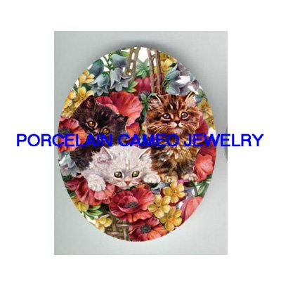 3 VICTORIAN KITTY CAT POPPY FLOWER* UNSET PORCELAIN CAMEO CAB