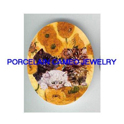 3 VICTORIAN KITTY CAT VINCENT VAN GOGH SUMFLOWER PORCELAIN CAMEO CAB