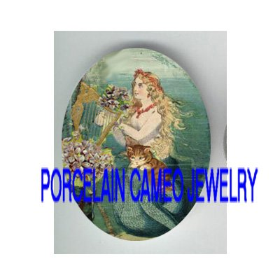 VICTORIAN MERMAID PLAY VIOLET HARP KITTY CAT* UNSET PORCELAIN CAMEO CAB