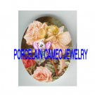 VICTORIAN ROSE BUTTERFLY FAIRY KITTY CAT FAIRY* UNSET PORCELAIN CAMEO CAB