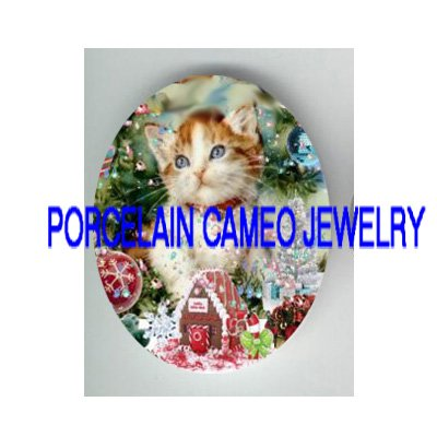 KITTY CAT CHRISTMAS ORNAMENT GINGERBREAD HOUSE* UNSET PORCELAIN CAMEO CAB