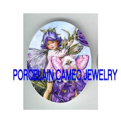VICTORIAN MORNING GLORY FAIRY KITTY CAT FAIRY PORCELAIN CAMEO CAB