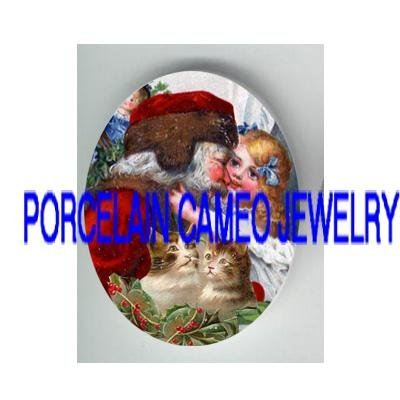 VICTORIAN GIRL KISSING SANTA KITTY CAT HOLLY BERRY  * UNSET PORCELAIN CAMEO CAB