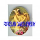 VICTORIAN MERMAID KITTY CAT ROSE* UNSET PORCELAIN CAMEO CAB