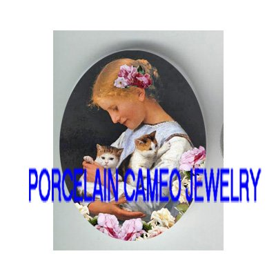 VICTORIAN ROSE GIRL HOLD 2 KITTY CAT*UNSET PORCELAIN CAMEO CAB
