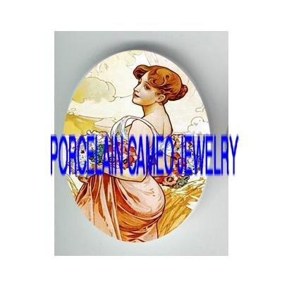 ALPHONSE MUCHA POPPY FLOWER LADY UNSET PORCELAIN CAMEO