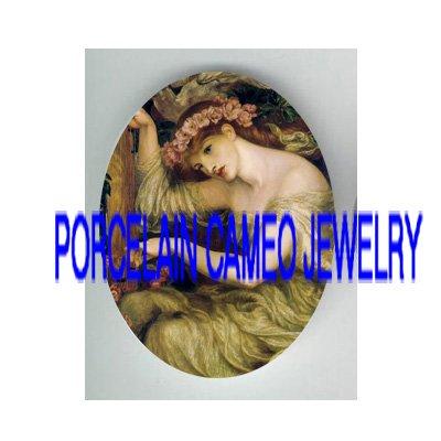 JOHN WATERHOUSE ROSE LADY PLAY HARP* UNSET PORCELAIN CAMEO CAB