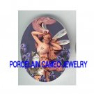 VICTORIAN IRIS DRAGONFLY FAIRY 3 KITTY CAT * UNSET PORCELAIN CAMEO CAB