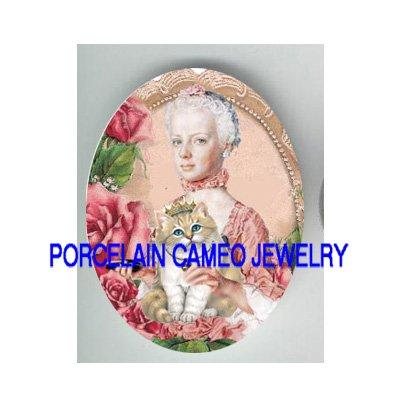 MARIE ANTOINETTE PRINCESS CROWN CAT ROSE PORCELAIN CAMEO CAB