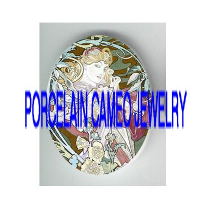 ALPHONSE MUCHA FLOWER LADY* UNSET PORCELAIN CAMEO CAB