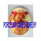 ALPHONSE MUCHA FLOWER LADY* UNSET PORCELAIN CAMEO CAB