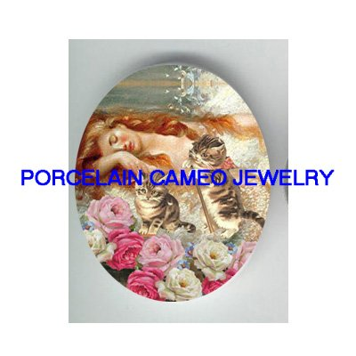 GOLDEN MERMAID 2 KITTY CAT ROSE * UNSET PORCELAIN CAMEO CAB