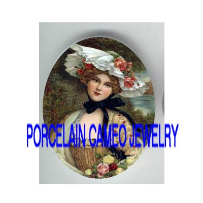 VICTORIAN LADY ROSE HAT* UNSET PORCELAIN CAMEO CAB