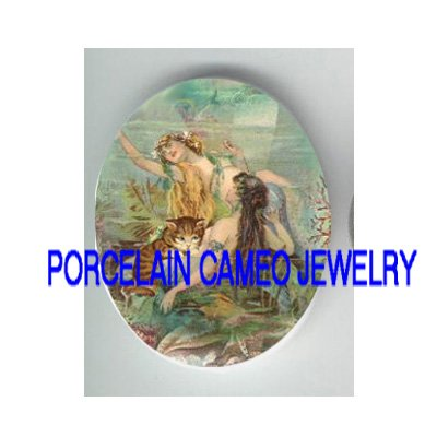 VICTORIAN 2 MERMAID CUDDLING KITTY CAT * UNSET PORCELAIN CAMEO CAB