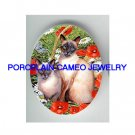 2 SIAMESE CAT POPPY DAISY BUTTERFLY* UNSET PORCELAIN CAMEO CAB