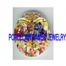 VICTORIAN KITTY CAT RIDE CAROUSEL HORSE ROSE PORCELAIN CAMEO CAB