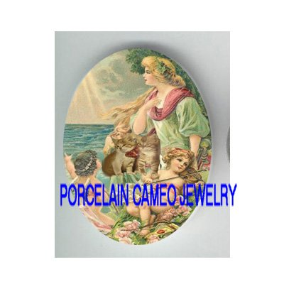 VICTORIAN GODDESS ANGEL CHERUB KITTY CAT * UNSET PORCELAIN CAMEO CAB