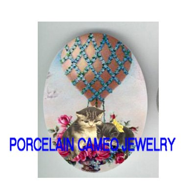 2 VICTORIAN ROSE FORGET ME NOT BALLOON PORCELAIN CAMEO CAB