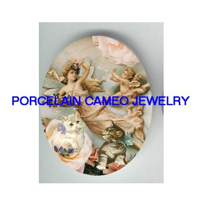 GODDESS FAIRY ANGEL CHERUB KITTY CAT ROSE PORCELAIN CAMEO
