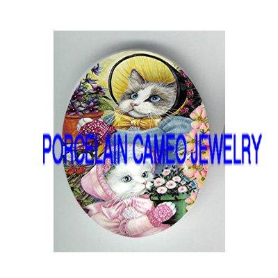 2 VICTORIAN KITTY CAT GLOWER GARDEN* UNSET PORCELAIN CAMEO CAB