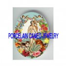 GODDESS THE BIRTH OF VENUS KITTY CAT ANGEL ROSE * UNSET PORCELAIN CAMEO CAB
