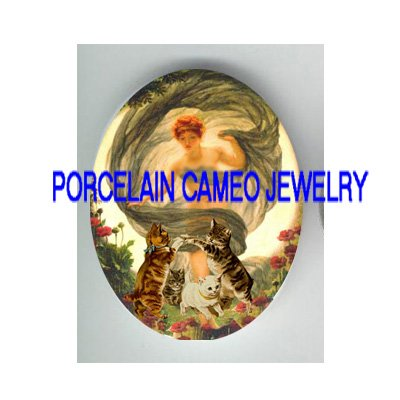 VICTORIAN MOON GODDESS  KITTY CAT POPPY * UNSET PORCELAIN CAMEO CAB