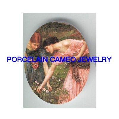 JOHN WATERHOUSE PINK LADY PICKING FLOWER* UNSET PORCELAIN CAMEO CAB