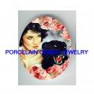 ROSE LADY WOMAN BLACK PANTHER WILD CAT * UNSET PORCELAIN CAMEO CAB
