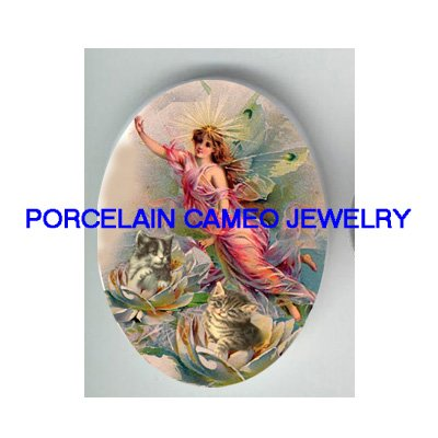 VICTORIAN WATER LILY LOTUS FAIRY WITH KITTY CAT * UNSET PORCELAIN CAMEO CAB