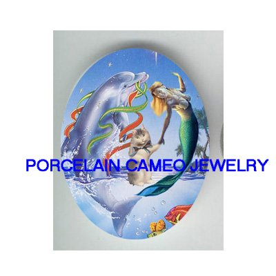 MERMAID PLAY WITH DOLPHIN  KITTY CAT * UNSET PORCELAIN CAMEO CAB
