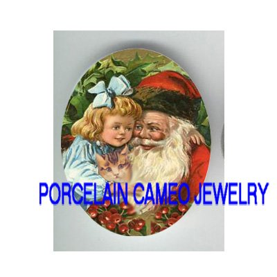 VICTORIAN GIRL HUGGING SANTA KITTY CAT HOLY BERRY * UNSET PORCELAIN CAMEO CAB