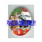 2 KISSING KITTY CAT CHRISTMAS TREE SNOW WINDOW* UNSET PORCELAIN CAMEO CAB