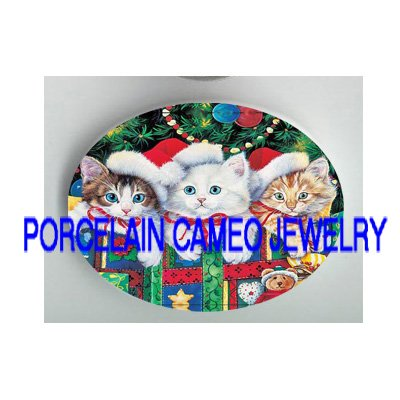 3 CHRISTMAS KITTY CAT GIFTS * UNSET PORCELAIN CAMEO CAB