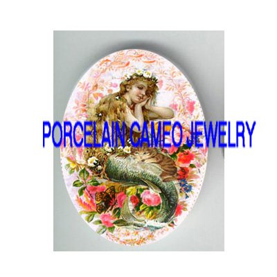 VICTORIAN MERMAID KITTY CAT ROSE BUTTERFLY * UNSET PORCELAIN CAMEO CAB