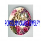 VICTORIAN MERMAID KITTY CAT ROSE VIOLET* UNSET PORCELAIN CAMEO CAB