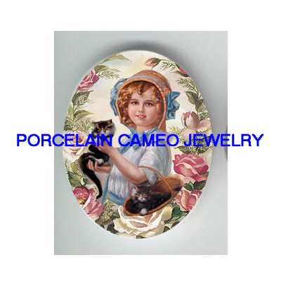 VICTORIAN BLUE HAT GIRL KITTY CAT ROSE * UNSET PORCELAIN CAMEO CAB