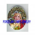 VICTORIAN CHRISTMAS WREATH GIRL KITTY CAT * UNSET PORCELAIN CAMEO CAB