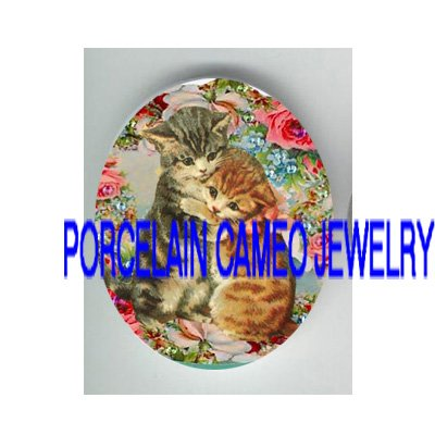 2 VICTORIAN HUGGING  KITTY CAT ROSE* UNSET PORCELAIN CAMEO CAB