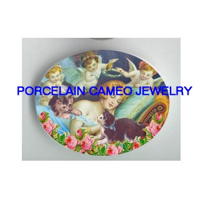 VICTORIAN GREEK GODDESS  ANGEL CHERUB   KITTY CAT ROSE* UNSET PORCELAIN CAMEO CAB
