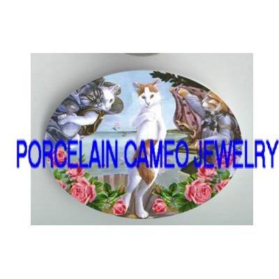 GODDESS THE BIRTH OF VENUS KITTY CAT ROSE PORCELAIN CAMEO CAB