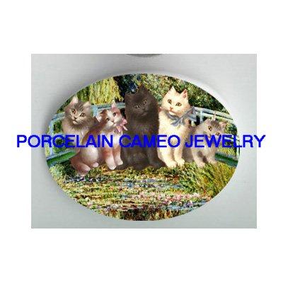 VICTORIAN KITTY CAT MONET JAPANESE GARDEN * UNSET PORCELAIN CAMEO CAB