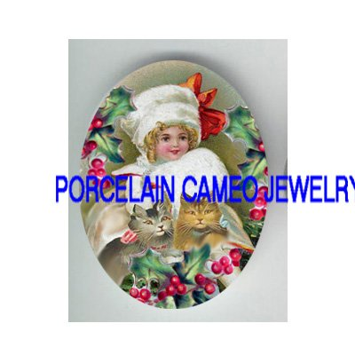 VICTORIAN CHRISTMAS HAT GIRL KITTY CAT HOLY BERRY * UNSET PORCELAIN CAMEO CAB